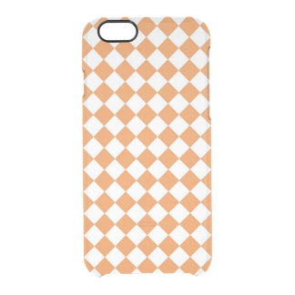 Pastel Orange Diamond Checkerboard pattern Clear iPhone 6/6S Case