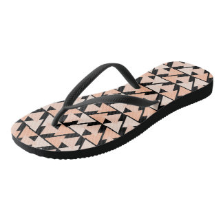 Pastel Orange Geometric Triangle Design Flip Flops