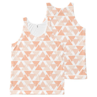 Pastel Orange Geometric Triangle Design Tank Top