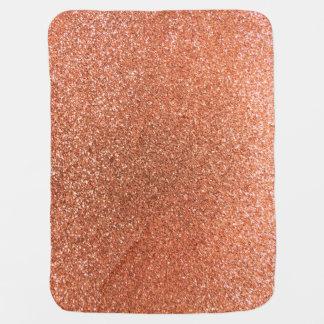 Pastel orange glitter receiving blankets