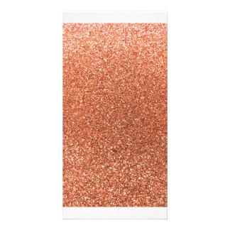 Pastel orange glitter customised photo card