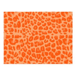 Pastel orange leopard print pattern postcard