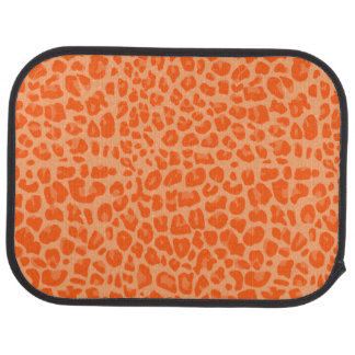 Pastel orange leopard print pattern floor mat