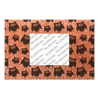 Pastel orange owl glitter pattern photo print