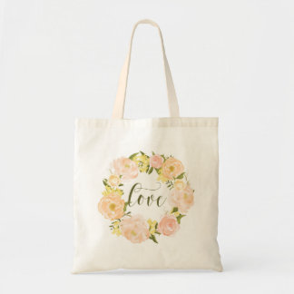 Pastel Orange Peonies Wreath | Love Lettering Tote Bag