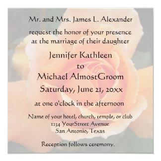 Pastel Orange Rose Wedding 13 Cm X 13 Cm Square Invitation Card