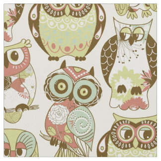 Pastel Owl Group Fabric