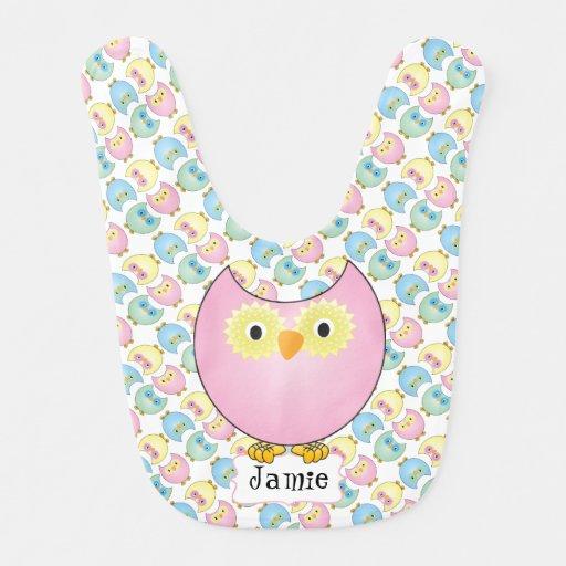 Pastel Owl Nursery Theme Bibs