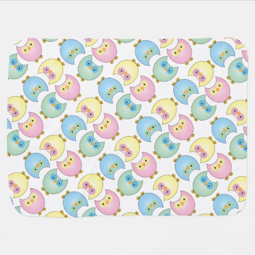 Pastel Owl Nursery Theme Swaddle Blankets