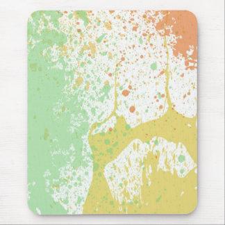 Pastel paint splatter print mouse pad