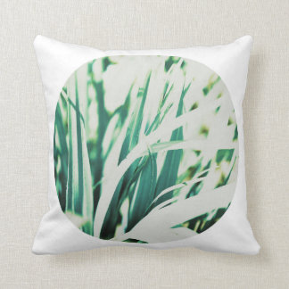 Pastel Pale Green Grass White Circle Cushion