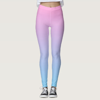 Pastel Pale Pink and Blue Gradient Leggings