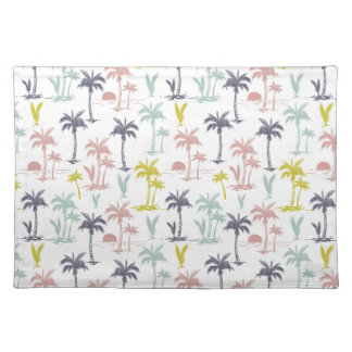 Pastel Palm Tree by the Beach Pattern Placemat