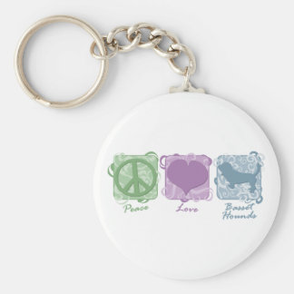 Pastel Peace, Love, and Basset Hounds Key Ring