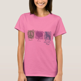 Pastel Peace, Love, and Bernese Mountain Dogs T-Shirt