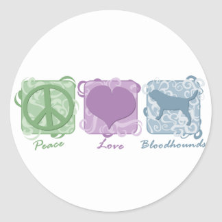 Pastel Peace, Love, and Bloodhounds Classic Round Sticker