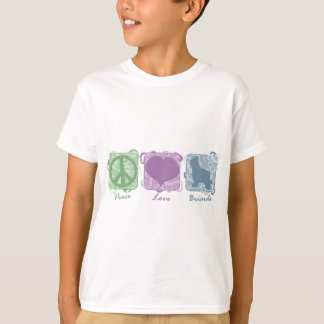 Pastel Peace, Love, and Briards Child's T-Shirt