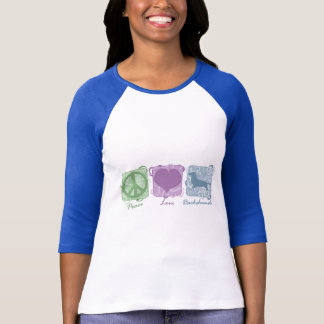 Pastel Peace, Love, and Dachshunds T-Shirt