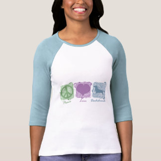 Pastel Peace, Love, and Dachshunds T Shirt