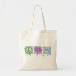 Pastel Peace, Love, and Dalmatians Tote Bag