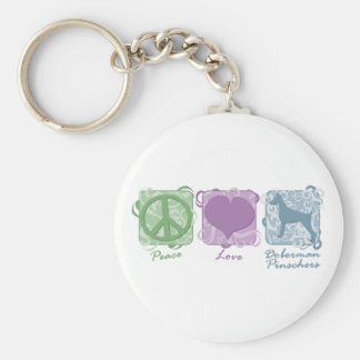 Pastel Peace, Love, and Doberman Pinschers Basic Round Button Key Ring