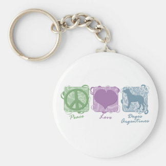Pastel Peace Love and Dogos Argentinos Key Chains
