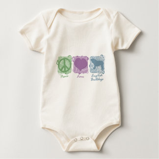 Pastel Peace, Love, and English Bulldogs Baby Bodysuit