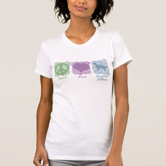 Pastel Peace, Love, and English Setters T-shirt