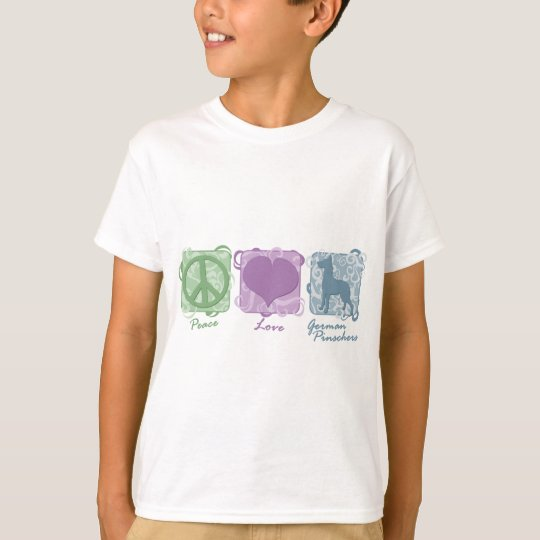 Pastel Peace, Love, and German Pinschers Child's T-Shirt