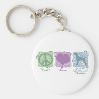 Pastel Peace, Love, and German Shorthaired Pointer Basic Round Button Key Ring