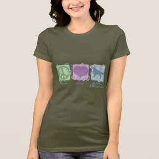 Pastel Peace, Love, and Golden Retrievers T-Shirt