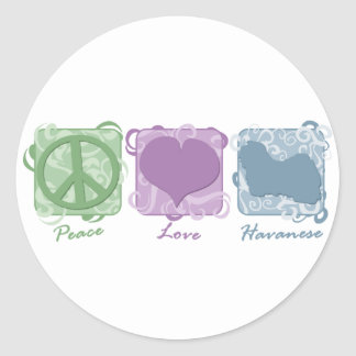 Pastel Peace, Love, and Havanese Classic Round Sticker