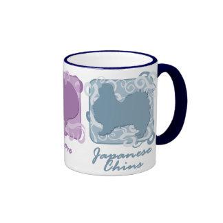 Pastel Peace, Love, and Japanese Chins Ringer Mug