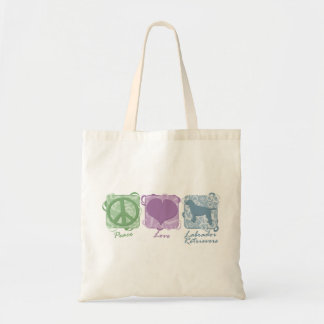 Pastel Peace, Love, and Labrador Retrievers Tote Bags