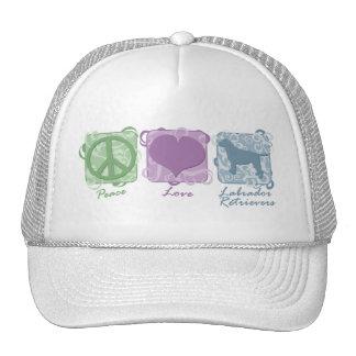 Pastel Peace, Love, and Labrador Retrievers Hats
