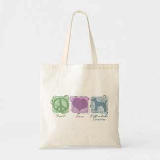 Pastel Peace, Love, and Patterdale Terriers Tote Bag