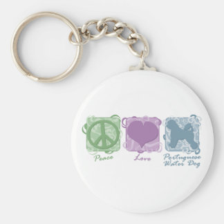 Pastel Peace, Love, and Portuguese Water Dogs Key Ring