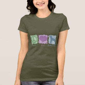 Pastel Peace, Love, and Rottweilers T-Shirt