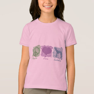 Pastel Peace, Love, and Salukis Child's T-Shirt