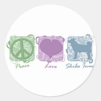 Pastel Peace, Love, and Shiba Inus Classic Round Sticker