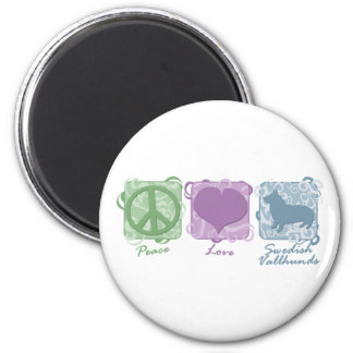 Pastel Peace, Love, and Swedish Vallhunds 6 Cm Round Magnet