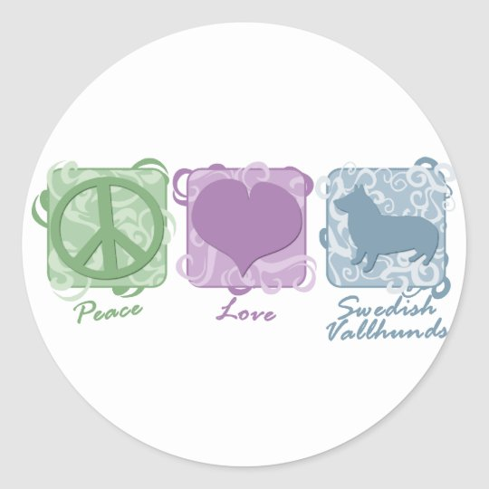 Pastel Peace, Love, and Swedish Vallhunds Classic Round Sticker