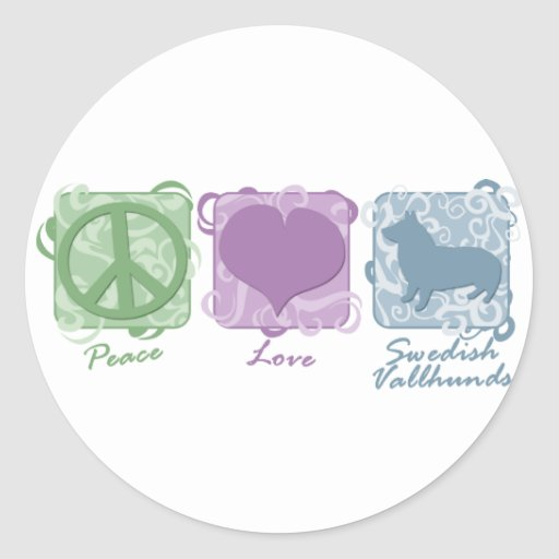 Pastel Peace, Love, and Swedish Vallhunds Round Sticker