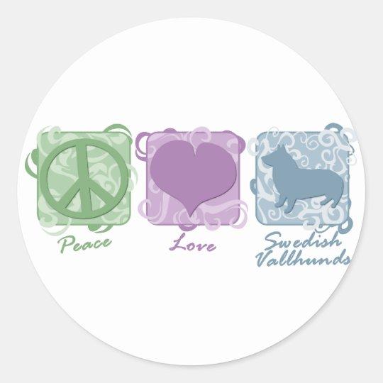 Pastel Peace, Love, and Swedish Vallhunds Round Sticker
