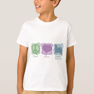Pastel Peace, Love, and Tibetan Terriers Child's T-Shirt