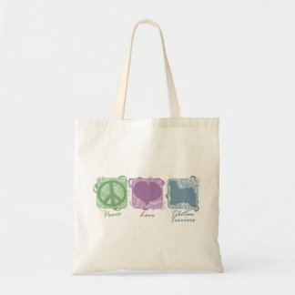 Pastel Peace, Love, and Tibetan Terriers Tote Bag