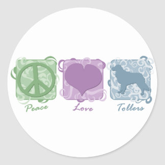 Pastel Peace Love and Tollers Round Sticker
