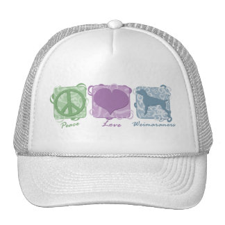 Pastel Peace, Love, and Weimaraners Cap