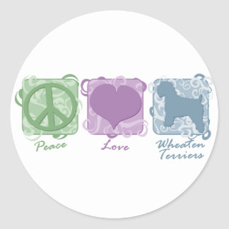 Pastel Peace, Love, and Wheaten Terriers Round Sticker