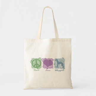 Pastel Peace, Love, and Whippets Budget Tote Bag